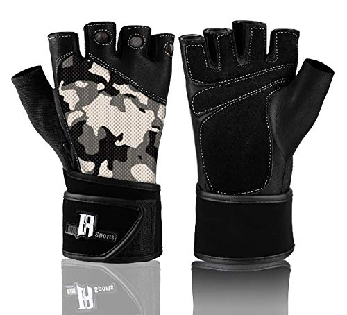 (RIMSports Wrist Wrap Gloves for Gym Workout - Premium Weight Lifting Gloves for Gym Equipment - Best Gym Gloves - Ideal for Gym Weights Equipment Power Lifting (Camouflage Gray) L)