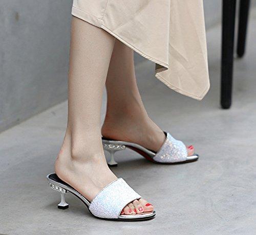 Blanc 4cm Femme Brillant Mules Ouvert Bout Paillettes Coloré Aisun nTaxw4q8w