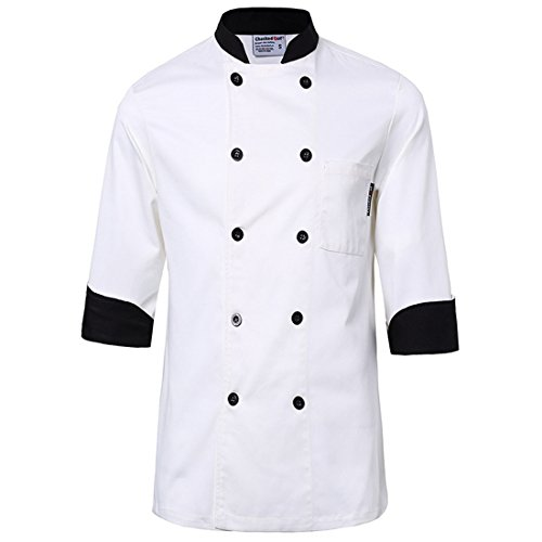 White chef uniforms unisex long and short sleeve coat catering jackets size 3XL, US Size L (Tag XXXL), White with Black