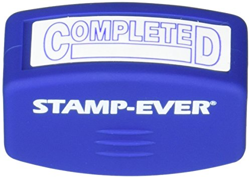 (Stamp-Ever Pre-Inked Message Stamp, Completed, Stamp Impression Size: 9/16 x 1-11/16 Inches, Blue (5943))
