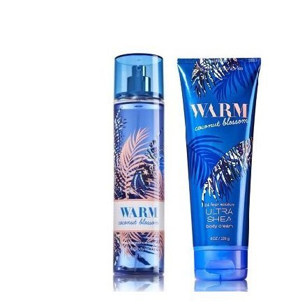 Bath and Body Works Warm Coconut Blossom Body Care Set. Ultra Shea Body Cream 8 oz and Body Mist 8 oz. ()