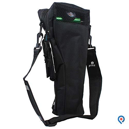 Pivit Oxygen Cylinder Shoulder Bag with Flex Shoulder Strap, B/M6 Tanks, Black | Adjustable Padded Comfort Flex Shoulder Strap | Mesh Window Panel For Easy Viewing | Non-Flammable Durable Nylon Fabric - Oxygen Tank Carrier