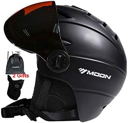 MOON Snow Ski Helmet with Detachable Glasses 2 in 1 Integrally-Molded Snow Helmet for Adult, Sports Helmet Protective Glasses – Windproof Protective Gear for Skiing, Snowboarding, Skateboard Helmet