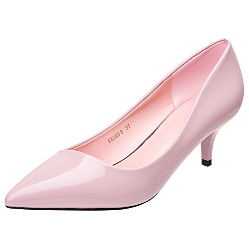 Fashion Slip on Kitten Heels Pointed Toe Shoes Dress Office Pumps (Pink Patent Pointed Toe Heels)
