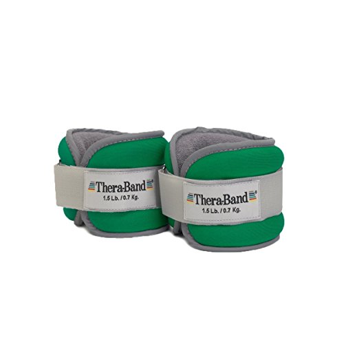 TheraBand Ankle Weights, Comfort Fit Wrist & Ankle Cuff Weight Set, Adjustable Walking Weights Cardio, Home Workout, Ankle Strengthening & Physical Therapy, Green 1.5 lb. Each, Set of 2, 3 Pounds