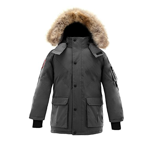 Triple F.A.T. Goose Hesselberg Boys Hooded Goose Down Arctic Parka with Real Coyote Fur (7, Grey) (Fat Boy Inserts)