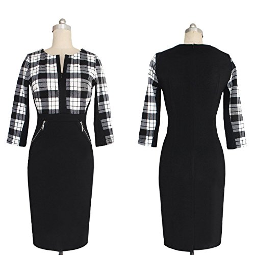 4 Pencil Houndstooth New Women Office Formal Wear Sheath Neck Dress Slim V LIYIZO 3 Bodycon Sleeve WYZqBwwv