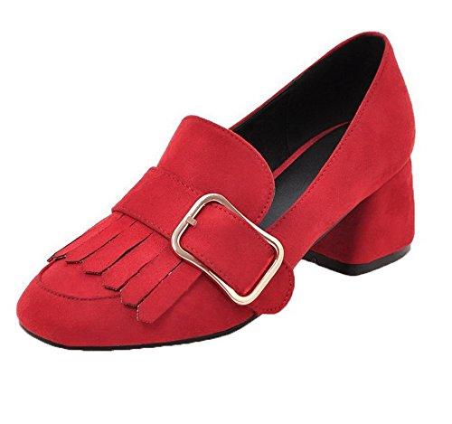 AmoonyFashion Women's Soild Pu Kitten-Heels Square-Toe Pumps-Shoes, Red, 40 -
