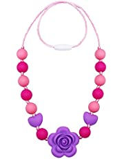 Chew Necklace for Sensory, Silicone Chewable Jewelry for Kids and Toddlers with ADHD Autism, Baby Teething Necklace for Biting/Nursing/Fidgeting, Chewing Necklaces Beads for Girl and Mum to Wear