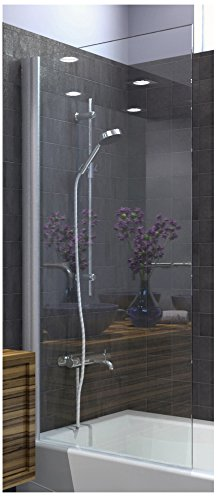 Ark Showers Semi-Frameless Bathtub Shower Screen, Pivot Door, 64 X 30, 5/16 (8mm) Glass With Square Top Corner, Brushed Silver Hinge. Model ()