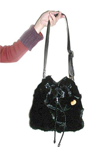 FursNewYork vison noir sac à bandoulière fourrure de cordon