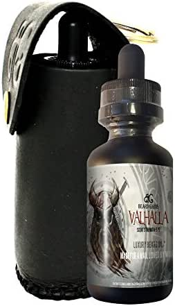 Valhalla 1oz Scented Beard Oil W/Leather Carrying Key Chain Case by BEARD GAINS, Made with Natural and Organic Ingredients, Condition & Grooms Facial Hairs and Moisturize Skin