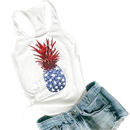 HDLTE Womens 4th of July Tanks American Pineapple USA Flag Funny Graphics Loose Fit Muscle Tanks Size L (White)