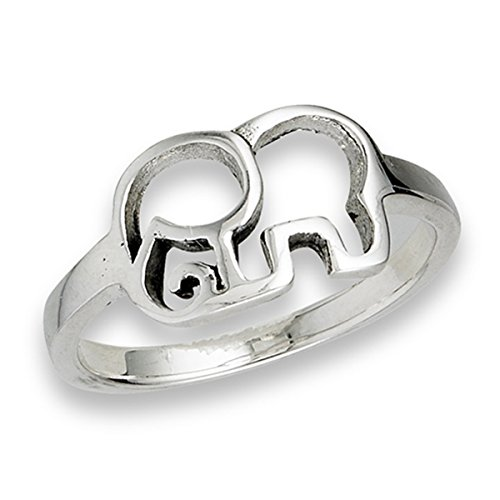 Sterling Silver Women's Circus Elephant Ring (Sizes 4-13) (Ring Size 8)