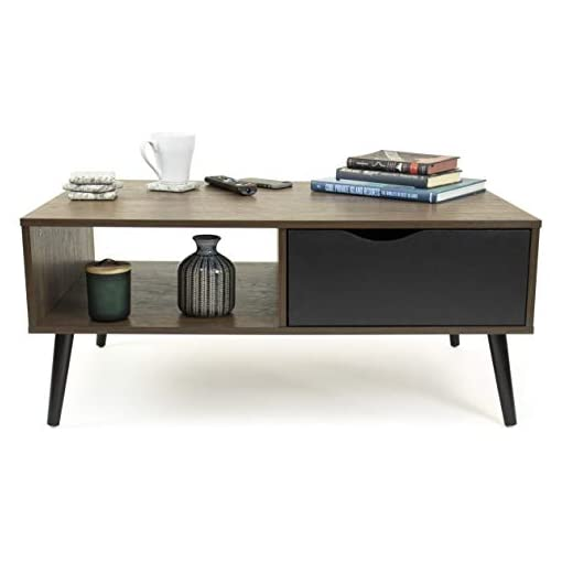 Living Room Humble Crew mid-Century Modern Coffee Table, Walnut/Black modern coffee tables