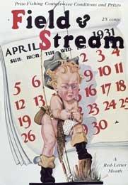 FIELD & STREAM: April 1931, framed black wood, white matte