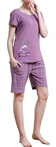 HACAI Women's Pajama Set Soft Modal Cotton Short Sleeve Sleepwear Purple - Size Caliber Chart