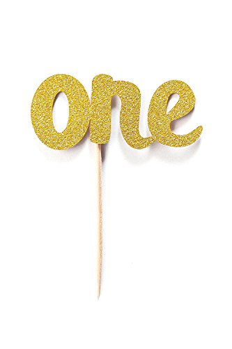Cheery One Cupcake Topper, 12 Pack, First Birthday Cupcake Topper, 1st Birthday Party Cupcake Topper, One Glitter Gold Cupcake Topper, Party Decoration