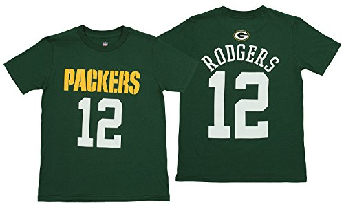 Aaron Rodgers Green Bay Packers Youth Mainliner Jersey Name and Number T-shirt Medium - Packers Green Bay Rogers Aaron