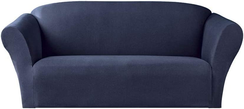 Bedding Haus 2pc Couch Slip Cover Set (Sofa, Loveseat), Stretch Form-fit, Furniture Protector, Polyester/Spandex, Isabel, 2pc Dark Blue