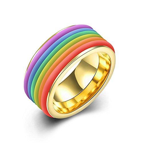 Smart Snacks Rainbow Color Cones (Fashion Popular Rainbow Gold-Plated Titanium Steel Rings - Matthew L. Garcia)