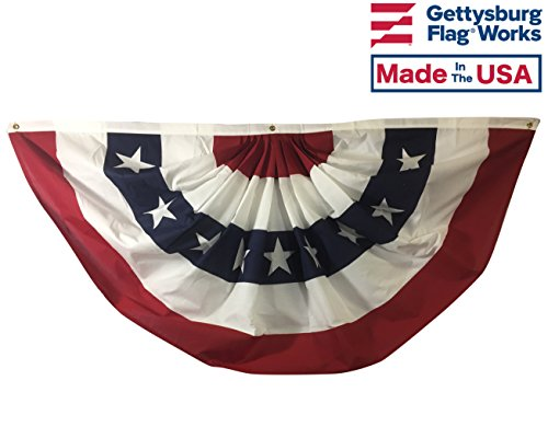 Decorative Bunting - Gettysburg Flag Works 4x8' Patriotic Red White Blue Pleated Fan Decorative Bunting, Printed Cotton, 5 Stripe with Stars, for Outdoor Decoration Use, Made in USA