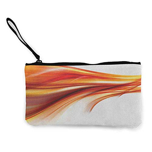 Abstract,Canvas Coin Purse Modern Contemporary Abstract Smooth Lines Blurred Smock Art Flowing Rays Print W 8.5