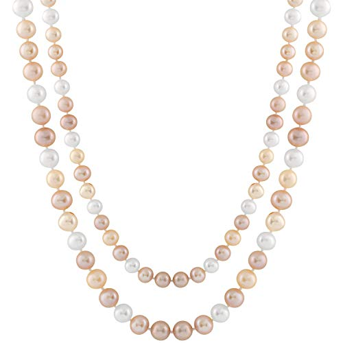 Handpicked A Quality 7.5-8mm Natural White Lavender Peach Freshwater Cultured Pearl Strand Endless 40