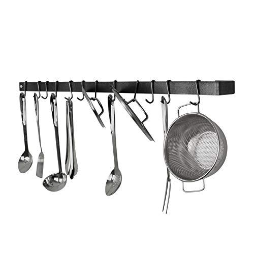 Enclume Premier  Utensil Bar Wall Pot Rack, Hammered Steel - Enclume Steel Pot Rack