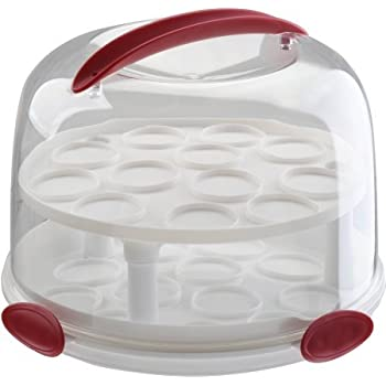 Clear Cake Carrier with Tight Clasping Latches Accommodates two 9   round cakes  sc 1 st  Amazon.com & Amazon.com: