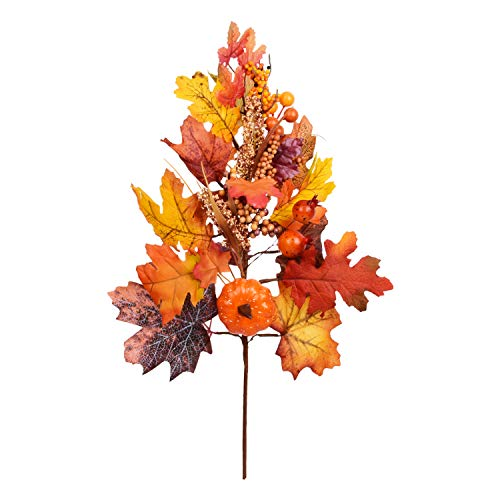 1 Pack Artificial Sunflower Long Pumpkin Bouquet Artificial Sunflowers Maple Leaves and Berries for Home Wedding Party Halloween Festival Christmas Decoration