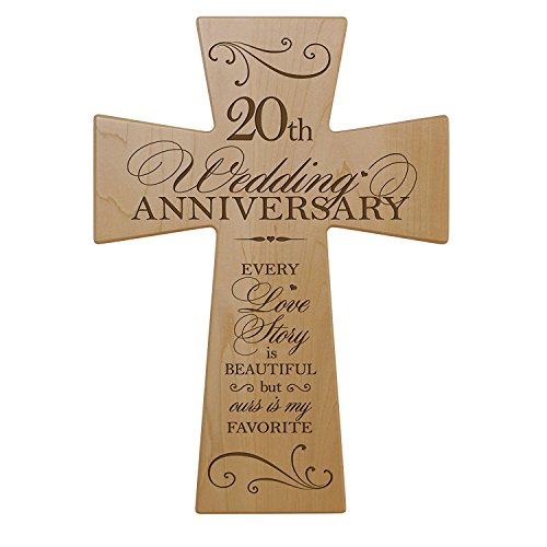 LifeSong Milestones 20th Wedding Anniversary Maple Wood Wall Cross Gift for Couple, 20 Year for Her, Twentieth Wedding for Him 7×11