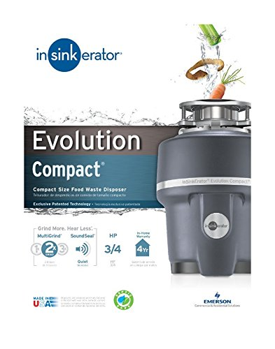 InSinkErator Evolution Compact Garbage Disposal, 3/4 HP Food Waste Disposal Unit