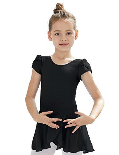 Ballet Leotard for Toddler Girls with Flutter Sleeve (Black, 2T-4T, Height 39-44