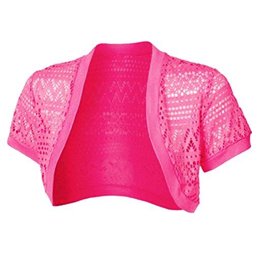 Corta A Crochet Cardigan Giacca Scialle Corto Piccolo Manica Ladies Elegante WanYang Moda Maglia Rose Donna 4FOOxa