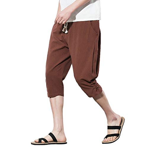 2019 New Hot Pants Men's Summer Pants Fashion Leisure Pure Color Button Linen Loose Shorts Coffee