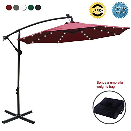 ABCCANOPY 10 FT Solar Powered LED Patio Outdoor Umbrella Hanging Umbrella Cantilever Umbrella Offset Umbrella Easy Open Lift 360 Degree Rotation with 32 LED Lights (Burgundy) (Led Patio Umbrella)