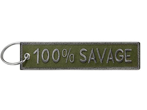Military 100% Savage Keychain Tag with Key Ring, EDC for Servicemen, Car, Motorcycle