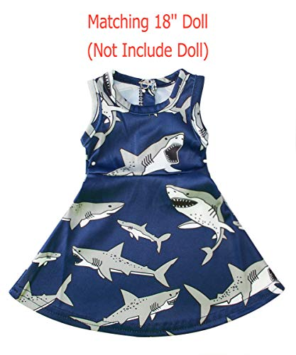 (Uideazone America Doll Clothes for 18 Inch Girl Doll Outfis Shark Tutu Dress)