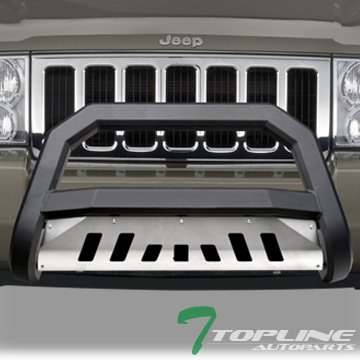 Topline Autopart Matte Black AVT Style Bull Bar Brush Push Front Bumper Grill Grille Guard With Skid Plate For 05-07 Jeep Grand Cherokee ; 06-10 Commander