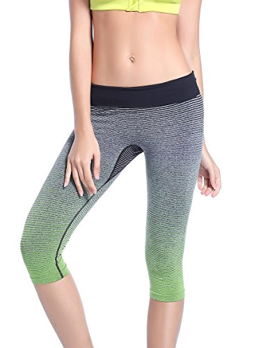 Tiheen Womens Athletic Stretchy Compression Yoga Runing Workout Sport Capri Leggings (Green M)