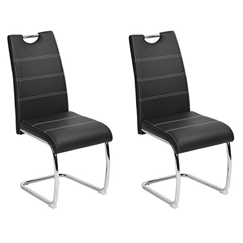 Dining Chairs set of 2 Aingoo Upholstered PU Leather Kitchen Chairs with Elegant Design High Backrest and Comfortably Padded Seat, Metal Chrome Legs, Home Kitchen, Living Room Dining Chairs, Black