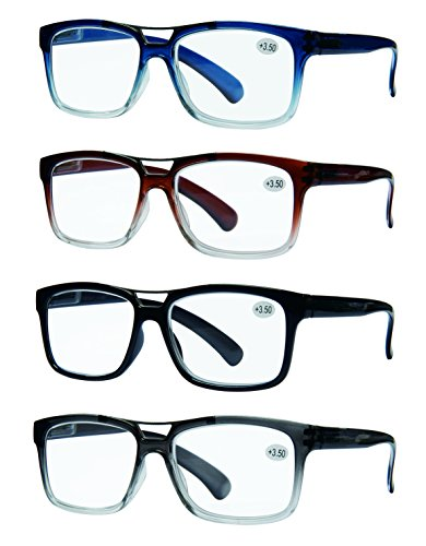 READING GLASSES 4 Pack Unisex Best Value Top Bar Style Quality Men and Womens Glasses for Reading 2.5