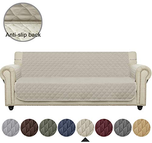 Ameritex Sofa Cover Waterproof Stay in Place, Furniture Protector, Sofa Slipcovers for Dogs (XL Sofa, Beige) (Couch Protector Quilted)