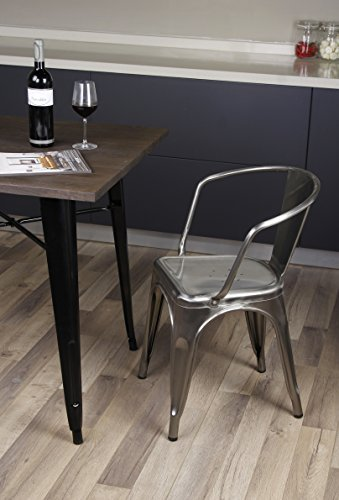 GIA Metal Dining Chairs with Back(1 PACK) - Gunmetal - Tolix Style - Loft Appearance - Ready to Use - Weight Capacity 300+ Pounds - Extra Durable and Stackable
