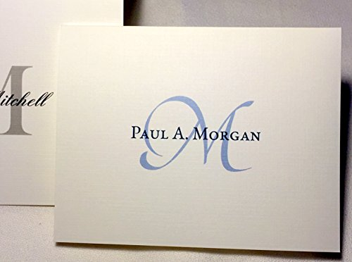 Name Personalized Note Card Stationery - 50 Personalized Note Cards with Initial Plus Full Name and Matching Envelopes. Choose Large Script Initial in Blue or Block Initial in Grey/Black. Blank Inside.