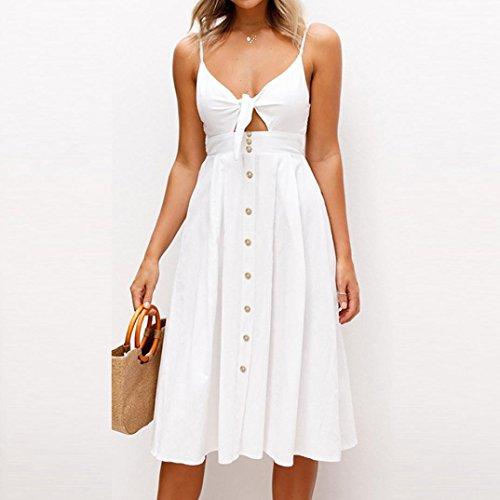 ❀ Damen kleider elegant lang ❀ Damen kleider sommer ❀ Womens Urlaub Bowknot Lace Up Damen Sommer Strand Buttons Party Kleid Weiß jNfP8tgV