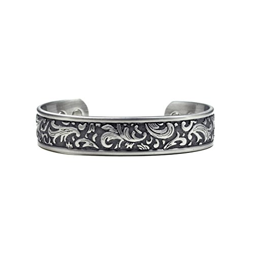 Accents Kingdom Silver-Tone Paisley Design Magnetic Therapy Bangle Golf Bracelet by Accents Kingdom