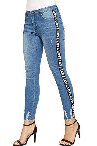 WEARALL - Femmes Ripped Afflig Maigre Aimer Imprimer Pantalon Dames tendue Toile De Jean Jeans - 34-44 Bleu