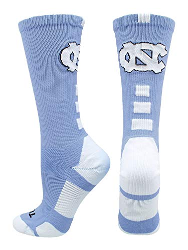 TCK Sports North Carolina Tar Heels Baseline Crew Socks (Carolina Blue/White, (University North Carolina Tar Heels Basketball)